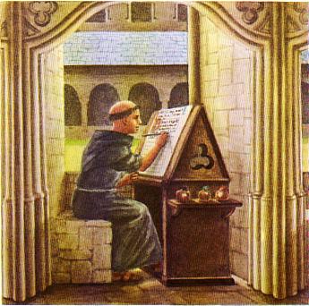 Des enluminures : ce sont des lettres décorées par les moines au